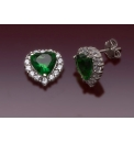 9ct Green and White Heart Earrings