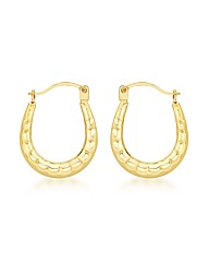 9ct Gold Ridged Creole Earrings
