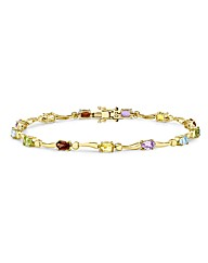 9ct Gold Rainbow stone Wave Bracelet