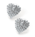 Clear Glass Stones Heart Earrings