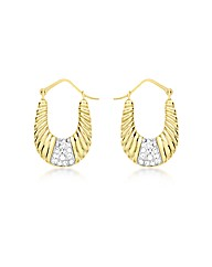 9ct Gold Crystal Ribbed Creole Earrings