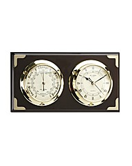 Wood Marine Clock & Barometer