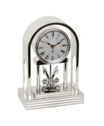 Arched Mantel Clock With Alarm - Silver