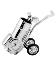 Miniature Clock Golf Trolley satin silv