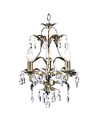 Cristallo Antique Brass 3 Chandelier