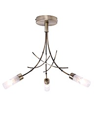 Bamboo Antique Brass 3 Ceiling Light