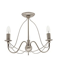 Natasha 3 Light Pewter Ceiling Light