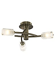 Octi 3 Light Antique Brass Ceiling Light