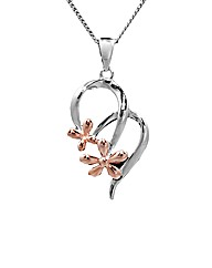 Silver and Rose Gold Flower Pendant