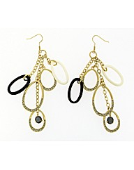 Gold Plated Crystal Loop Drop Earrings