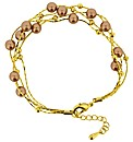 Gold Plated Brown Faux-Pearl Bracelet