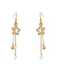 Gold Plated Flower Dropper Earrings