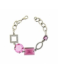 Pink and White Crystal Bracelet