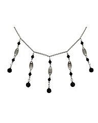 Rhodium Black Beaded Drop Necklace