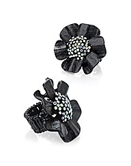 Accessories Black Flower Ring