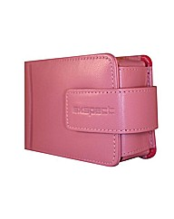 Pink leather compact camera case
