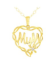 9ct Gold Heart Shaped Mum Pendant