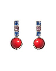 Blue Pink and Red Stone Dropper Earrings
