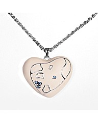 Rhodium Plated Cream Heart Pendant