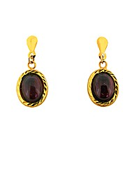 9ct Gold Red Garnet Drop Earrings