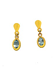 9ct YG Blue Topaz Drop Earrings
