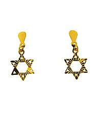 9ct YG Diamond Cut Cross Earrings