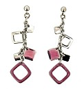 Rhodium Plated Pink Crystal Earring