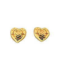 9ct YG Patterned Heart Stud Earrings