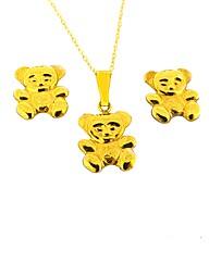 9ct YG Teddy Pendant and Ear Set