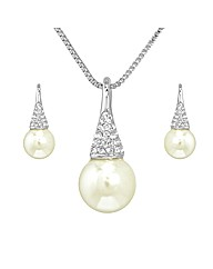 Crystal and Faux Pearl Pendant Set