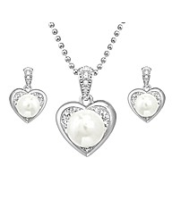 Crystal and Faux Pearl Heart Pendant Set