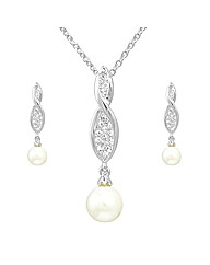 Crystal and Faux Pearl Twist Pendant Set