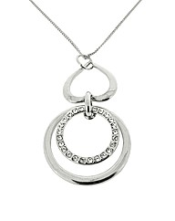 Rhodium Crystal Loop Drop Pendant