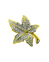 Gold Plated Crystal Leaf Brooch