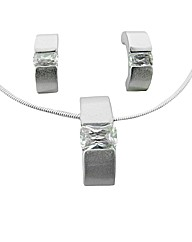 Crystal Rectangular Pendant Set