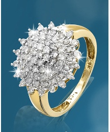 9 Carat Gold 1ct Diamond Cluster Ring