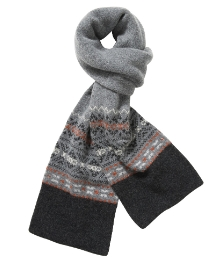 Ben Sherman Grey Fairisle Scarf