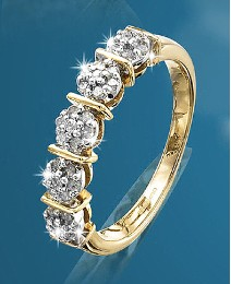 9 Carat Gold 1/4ct Half Eternity Ring